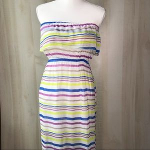 Multicolor Stripes Strapless Ruffed Dress Size S